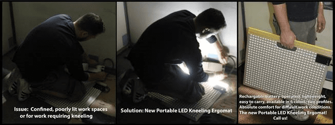 Portable LED Kneeling Ergomat Solves Issues